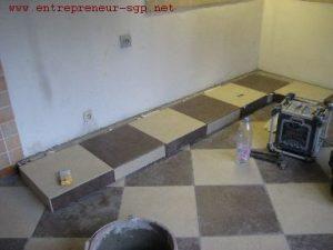 Rénovation Intérieure : carrelage d'une cuisine par l'entrepreneur SGP de Charleroi